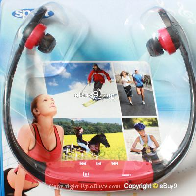 Brand RED Sport MP3 Music Player Wireless Handsfree Headphones USB Cable Ydo1w-