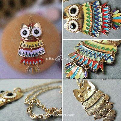 HOT Colorful Fashion Girl Owl Pendant Necklace MTYcew-Multi Color