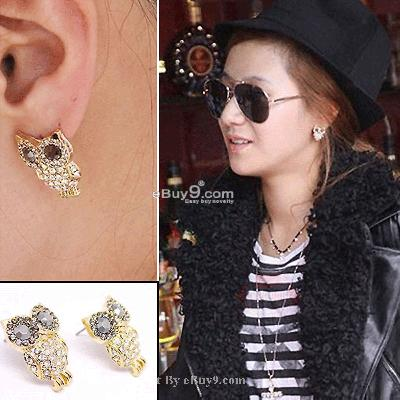 HOT Fashion Shining Eyes Owl style stud earrings MTYehw-Coffee