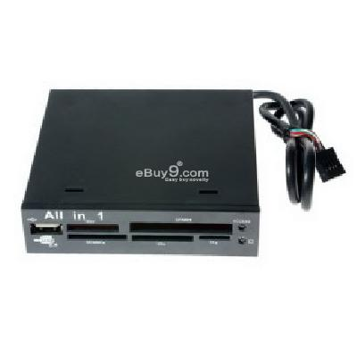 3.5inch All-in-1 Internal USB 2.0 Card Reader + USB Port (Black) MS081105-Black