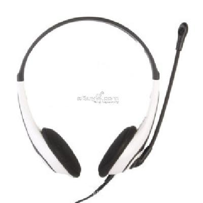 Deluxe VoIP Headset + Microphone (White) M075565-White