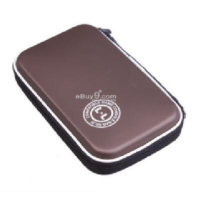 Hard Protective Carry Pouch with Carabiner Clip for Nintendo DSi XL-Brown