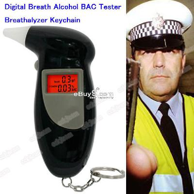 NEW 4 Mouthpiece Digital Breath Alcohol BAC Tester Breathalyzer Keychain JiuW-