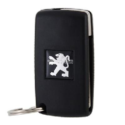 peugeot car remote key shell with folding key blank(black)-Black