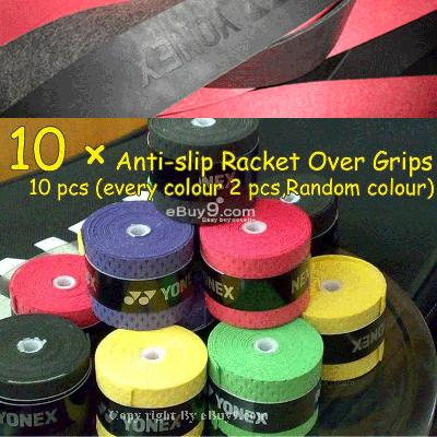 10 Anti-slip Racket Grips Tennis Badminton 5star Rf10w-Multi Color