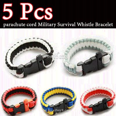 HOT Parachute Cord Military Survival Bracelet bpse SL5xw-As picture