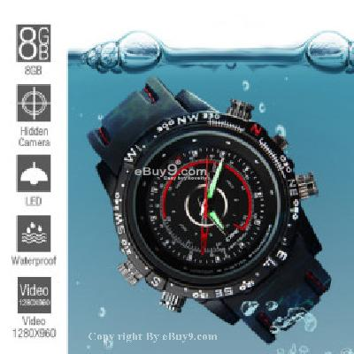 8GB High Definition Waterproof Spy Watch with Hidden Camera SWC086195-Black