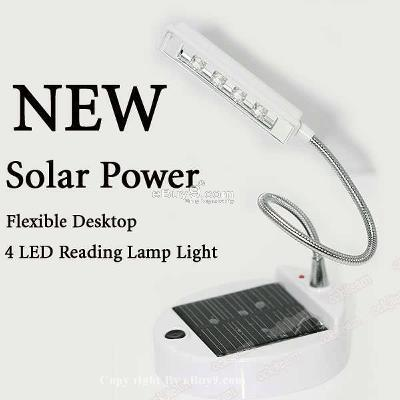 Solar Power Flexible Desktop 4 LED Reading Lamp TD4W-White