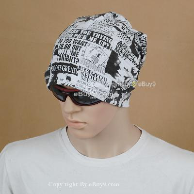 Fashion  on Fashion Style Men Beanie Magazine Pattern Cotton Scarf Cap Hip Hop Hat