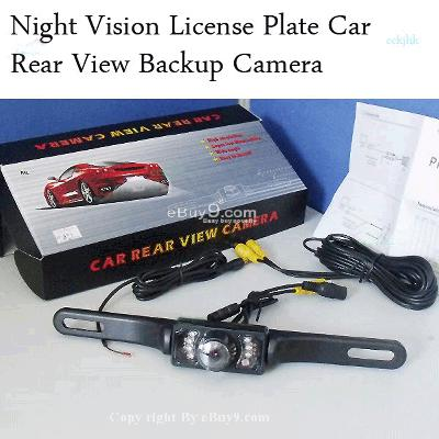 Night Vision License Car Rear View video Camera  For Car GPS and DVD Player + Waterproof WG06W-Black