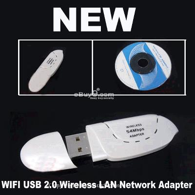 WIFI USB Wireless LAN Network Adapter 802.11gb WK6w-White