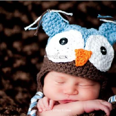 Newborn Baby Owl Ear Flap Crochet Beanie Photography Photo Handmade Hat Ymm2w-Blue