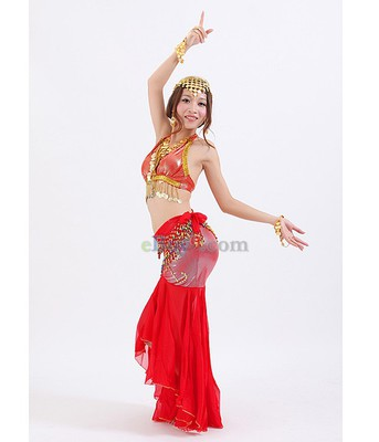 Sexy Belly Dance Costume Sequinned Bra &amp; Skirt Red-As picture