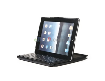 Wireless Rechargeable Bluetooth Case Stand Keyboard for Apple iPad 2 (Black)-As picture