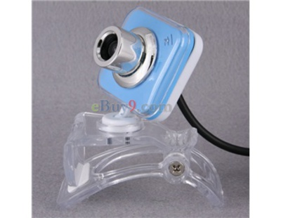 0.3Mpx USB Webcam PC Camera with Microphone and Crystal Clip (Blue)-As picture