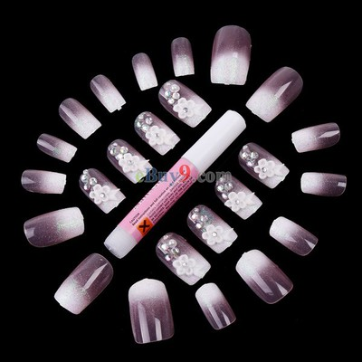 Pink Flower Design 24 Airbrush False Finger Nails Suit with Glue -As picture