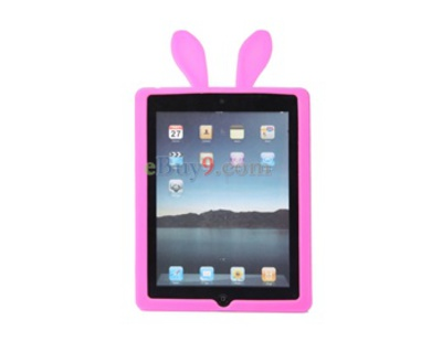 Fabito Soft TPU Protective Case with Rabbit Ears for Apple iPad 2 (Pink)-As picture