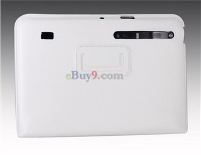 Ultra-thin Protective Leather Full Case Stand for MOTO XOOM Tablet PC (White)-As picture