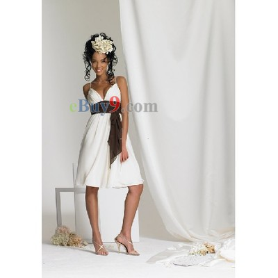Empire Waist Sleeveless Knee-length Chiffon Bridesmaid/ Wedding Party/ Evening Dress-As picture