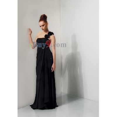 Sheath One Shoulder Chiffon Bridesmaid/ Wedding Party/ Evening Dress-As picture