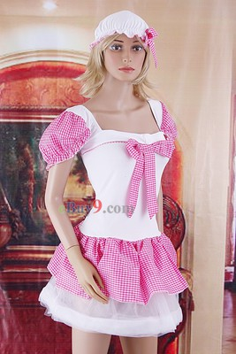 Lovely Sexy Pink Plaid Mini Dress Maid Costume Lolita Masquerade Party-As picture