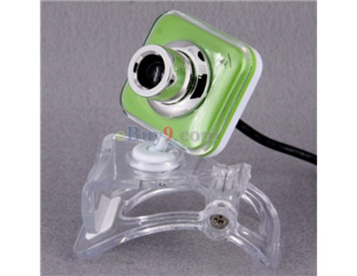 0.3Mpx USB Webcam PC Camera with Microphone and Crystal Clip (Green)-As picture