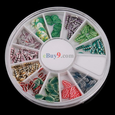 120 Pcs Multicolor Leaf Fimo Nail Art Nail Tips Slice Decoration Wheel-As picture