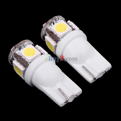 2 Pcs T10 White 5 5050 SMD LED Car Indicator Light Bulb-As picture