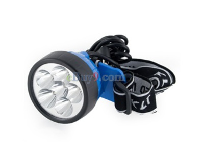 6 LED White Light Rechargeable Search Lamp Headlamp (Blue)}-As picture