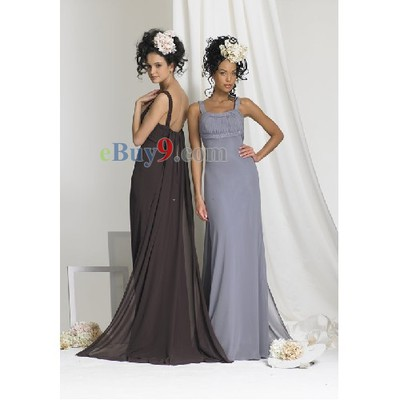 Column Scoop Sleeveless Chiffon Bridesmaid/ Wedding Party/ Evening Dress-As picture