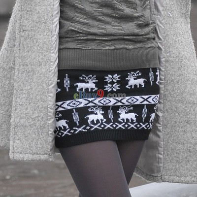Sexy Lovely Ladies Deer Knit Knitted Skirt Mini Skirt-As picture