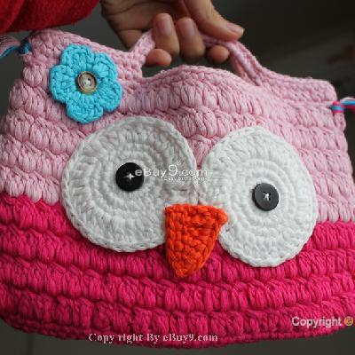 Girl Kids Handmade Crochet Cute Owl Handbag Purse Bag jkylfn bmgaw-As picture
