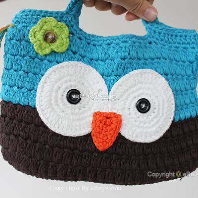 Girl Kids Handmade Crochet Cute Owl Handbag Purse Bag bmm2w-As picture