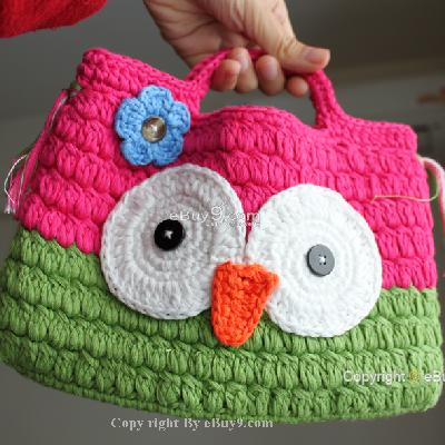 Girl Kids Handmade Crochet Cute Owl Handbag Purse Bag qgooyw bmm4w-As picture