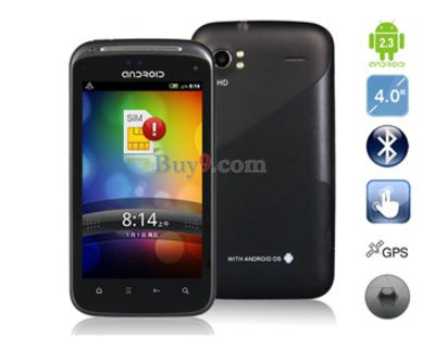 4,0 kapazitiven Touchscreen Android 2.3 Smartphone mit Wi-Fi , GPS und TV (schwarz)-schwarz