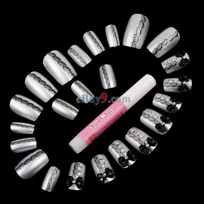 Black & Silver Bowknot Design 24 Airbrush False Finger Nails Suit with Glue -As picture