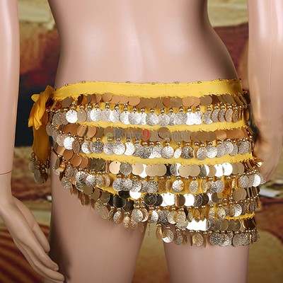 Heavy 5 Layers 320 Coins Sequins Belly Dance Waist Link-Yellow -As picture