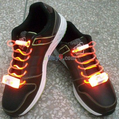 LED Light Up Shoelaces Flash Shoestrings Orange-As picture