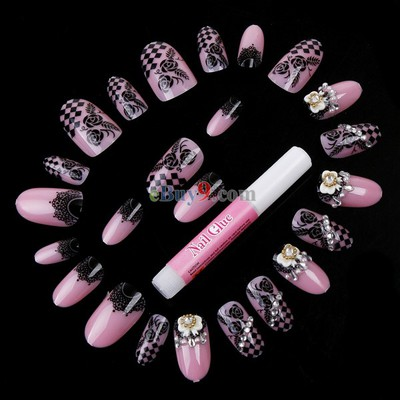 /pink-black-bowknot-and-flower-design-24-airbrush-false-finger-nails-suit-with-glue-p-14282.html
