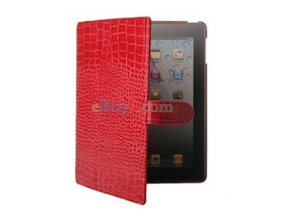 Crocodile Skin Faux Leather Ultra-slim iPad 2 Case (Red)-As picture