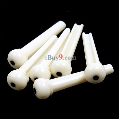 A Set of White Folk Guitar Bone Bridge Pins Saddle Nut   -As picture