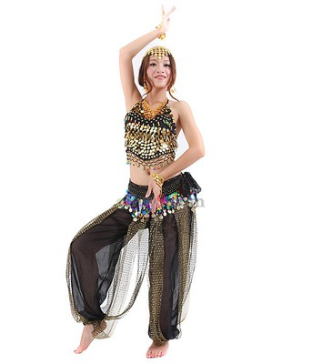 Golden Coins Sequins Tops Waist Link &amp; Trousers for Belly Dance Black -As picture