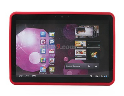 "Open Face Silicone Case for Samsung Galaxy Tab 10.1"" P7100 (Red)-As picture"