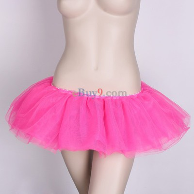 Rose Red Ballet Cyber Rave Tutu Tulle Mini Skirt Lingerie Party Dress-As picture