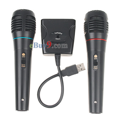 2x Wired Microphone Mic Set For Nintendo Wii Games PS3-As picture