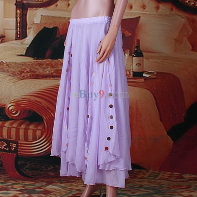 Sexy 2 Layers Belly Dance Costume Dancewear Skirt Light Purple Chiffon Gold Coins-As picture