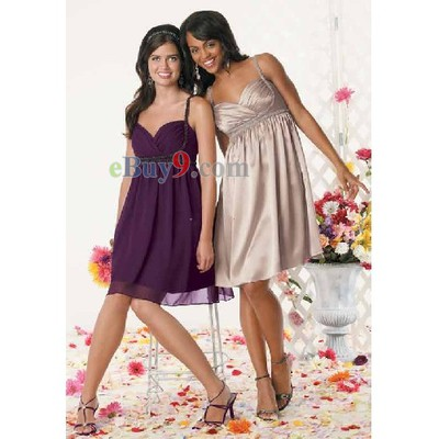 Elegant Empire Spagetti Straps Sleeveless Chiffon Bridesmaid/ Wedding Party/ Evening Dress-As picture