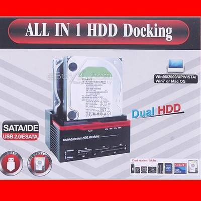 2.5/3.5inch 2x SATA HDD Docking Station Clone eSata USB 2.0 HUB-As picture