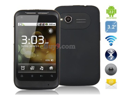 3,2 HVGA Resistive Touchscreen Android 2.2 Smartphone mit TV, Wi-Fi , GPS (Schwarz)-schwarz