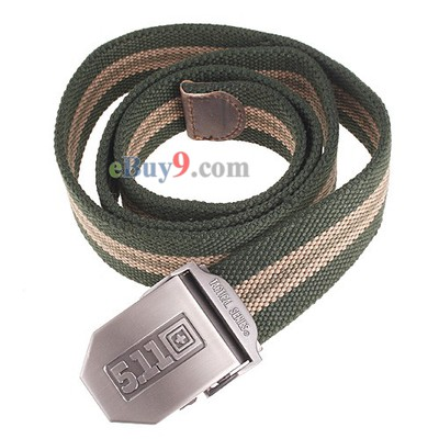 Military Police Canvas Stripe Unisex Belt Army Green 40